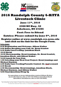 Cover photo for 2016 Randolph County 4-H/FFA Livestock Clinic