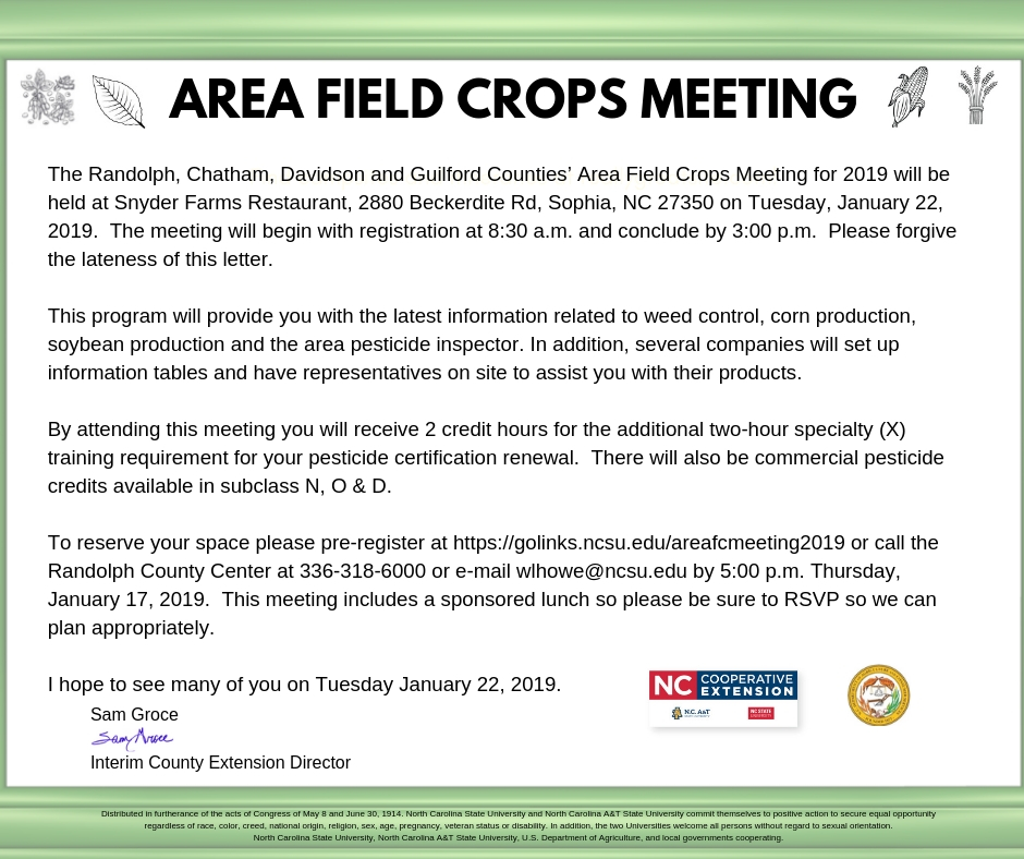 Field Crops meeting info