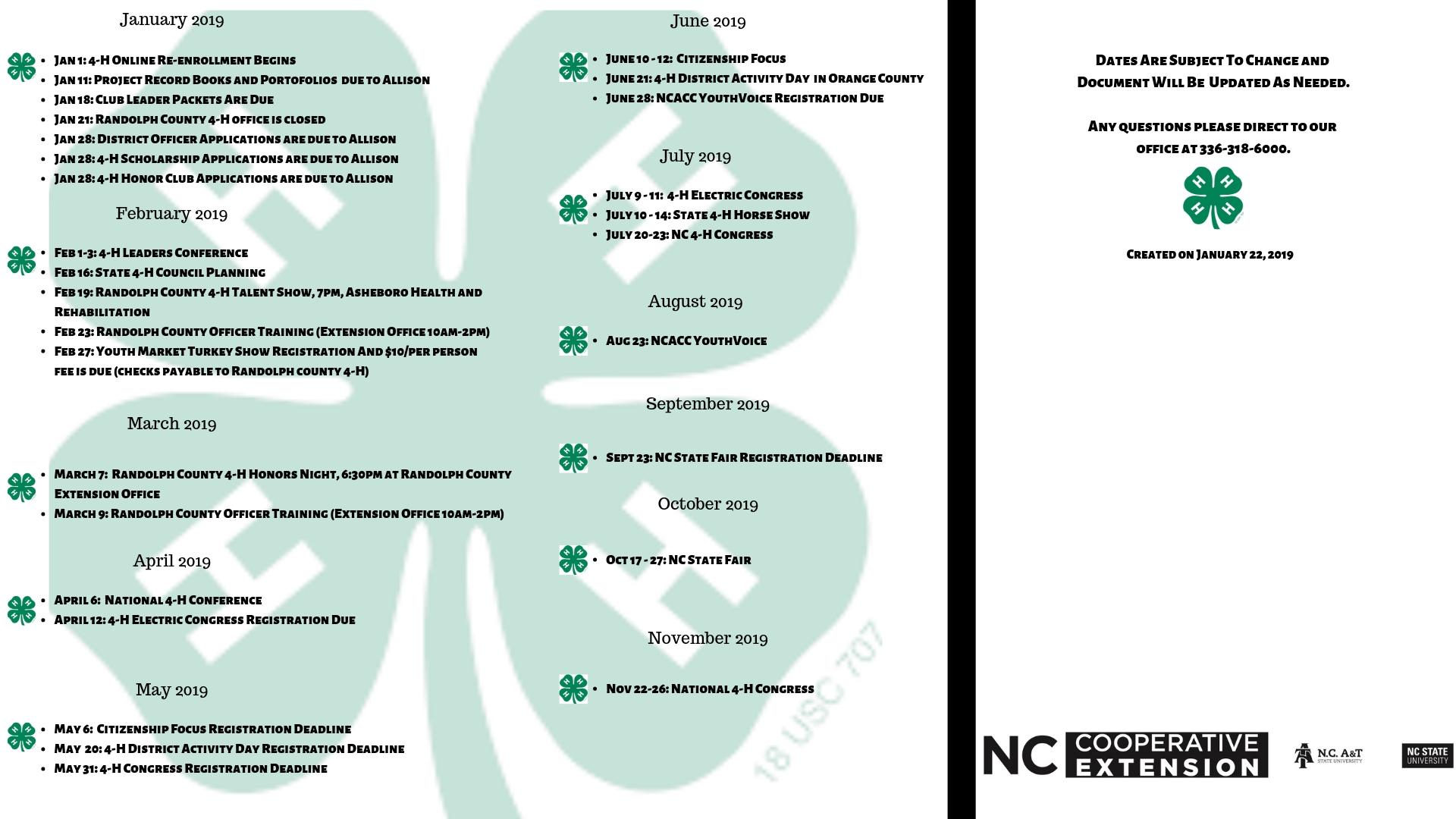 Ncsu 2019 Calendar 2019 Randolph County 4 H Events Calendar | North Carolina