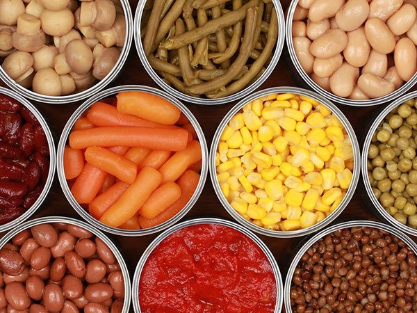 An array of canned vegetables and beans.