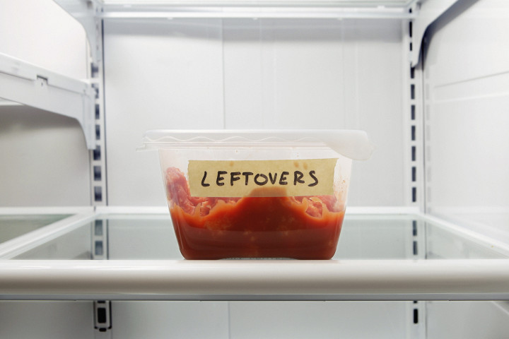 Container of leftovers in frig