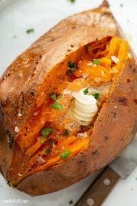 Perfectly baked sweet potato