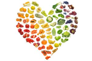 fruits in a heart shape