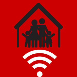 Icon showing family over wifi signal logo- Broadband in Family and Consumer Science